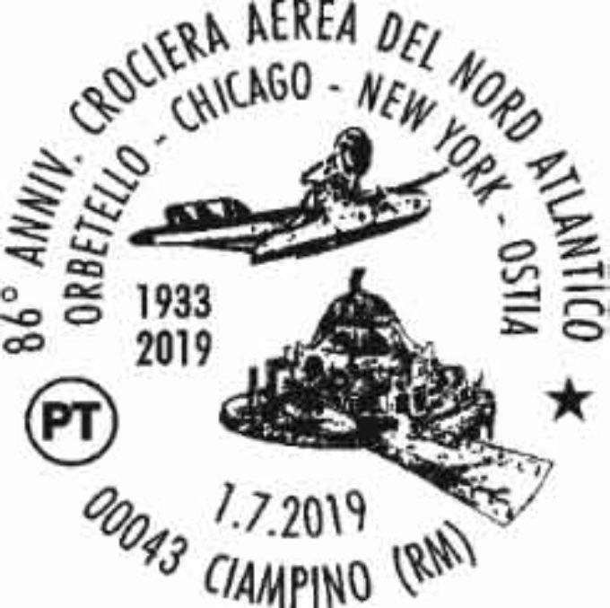 CIAMPINO: UN ANNULLO FILATELICO PER L'86ESIMO ANNIVERSARIO CROCIERA AEREA DEL NORD ATLANTICO