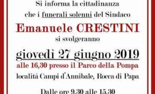 ROCCA DI PAPA: I FUNERALI SOLENNI DEL SINDACO CRESTINI SI CELEBRERANNO GIOVEDÌ 27 GIUGNO