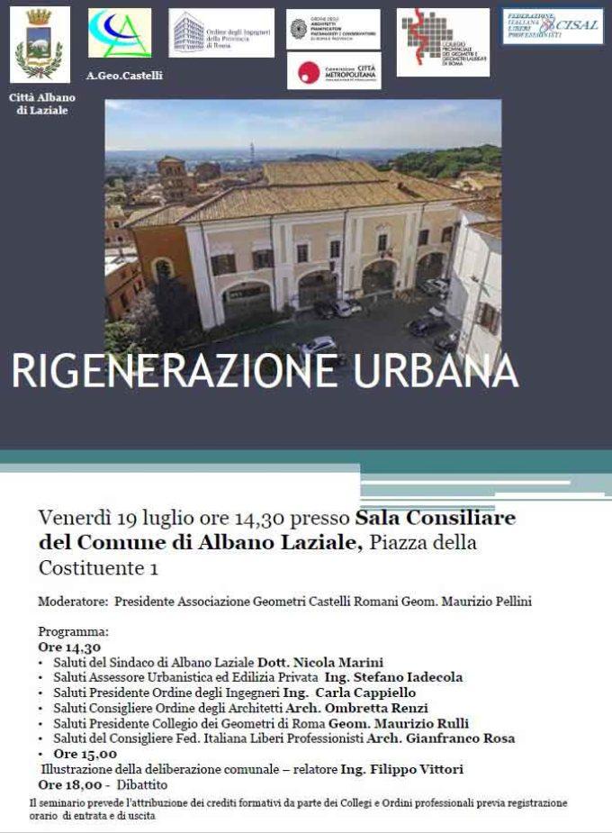 Albano Laziale, venerdì 19 luglio in Sala Nobile convegno sulla Rigenerazione Urbana