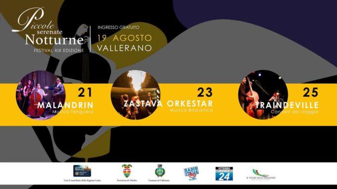 VALLERANO – 21 – 23 – 25 agosto 2019 PICCOLE SERENATE NOTTURNE XIX edizione