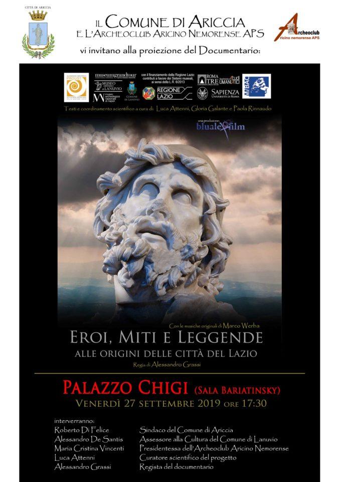 """Ariccia – """"Eroi, miti e Leggende. Alle origini delle città del Lazio"""""""