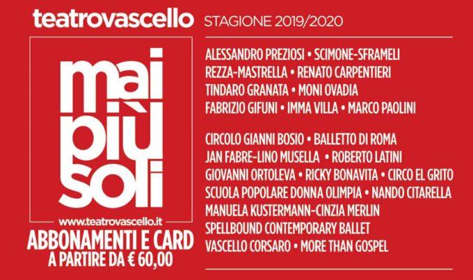 Teatro Vascello – STAGIONE 2019 2020 | Notizie in Controluce