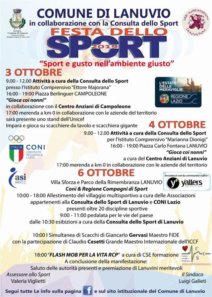 Lanuvio, al via domani la Festa dello Sport 2019 ( 3-4-6 ottobre)