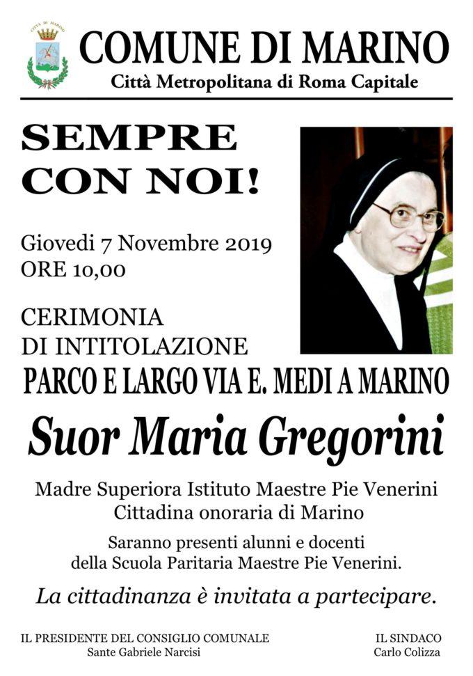 """IL PARCO E IL LARGO DI VIA E. MEDI A MARINO  SARA' INTITOLATO A """"SUOR MARIA GREGORINI"""""""
