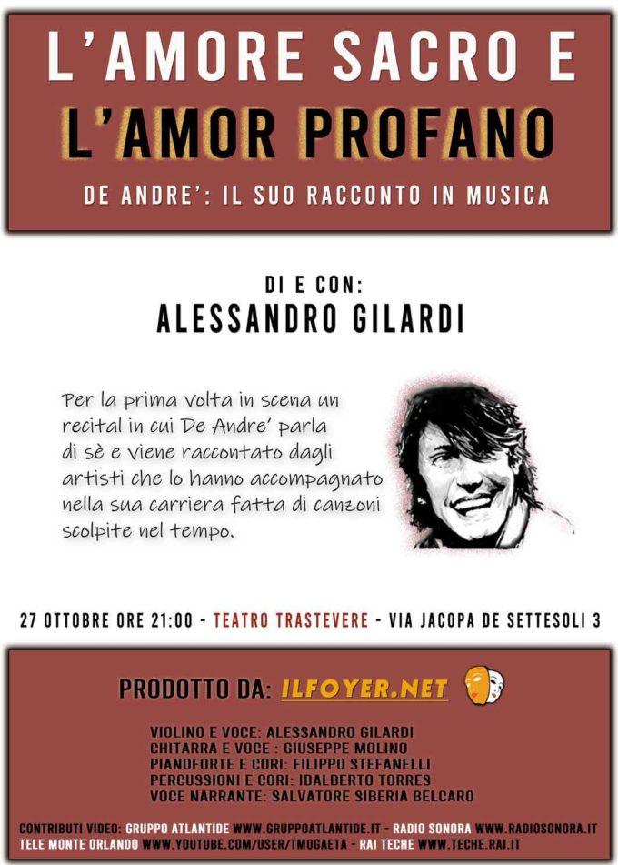 Teatro Trastevere –  L'AMORE SACRO E L'AMOR PROFANO  DE ANDRE': IL SUO RACCONTO IN MUSICA