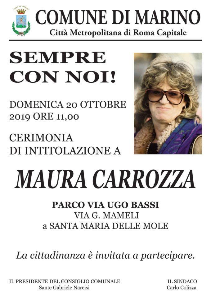 """MARINO – IL PARCO DI VIA UGO BASSI INTITOLATO A """"MAURA CARROZZA"""""""