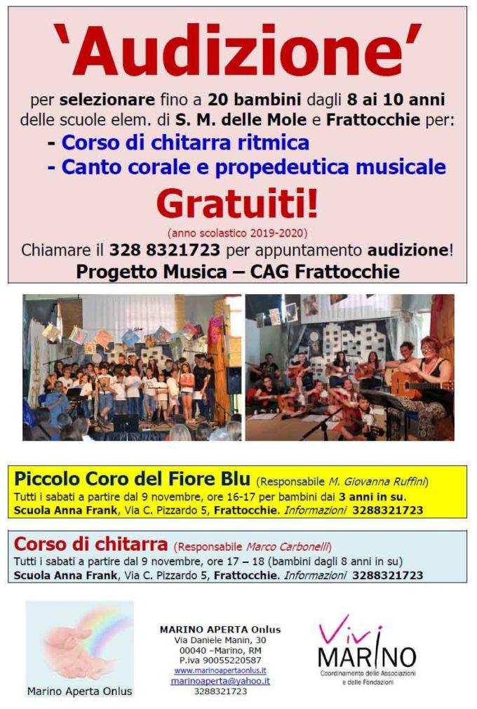 Marino Aperta lancia le Audizioni musicali per bambini a Frattocchie