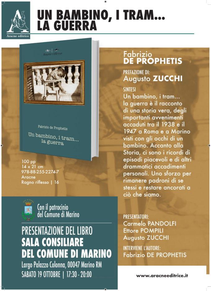 """""""Un bambino, i tram…la guerra"""" l'autore de Prophetis a Marino"""