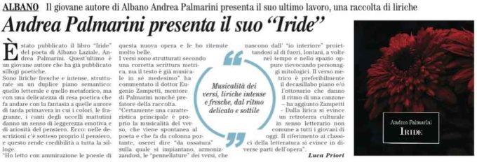 """Albano – Esce """"Iride"""" di Andrea Palmarini"""