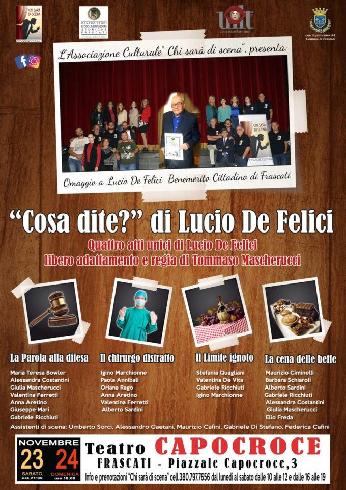 Al Teatro di Capocroce Lucio De Felici torna in scena con quattro atti unici