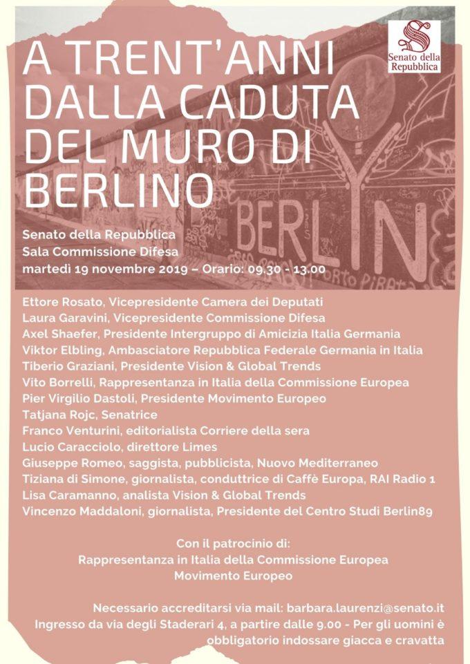 Berlino, in Senato un convegno internazionale per la caduta del Muro