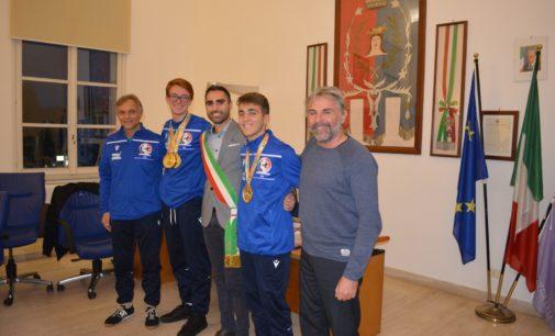Sindaco riceve gli atleti di karate Tommaso Giuli e Lorenzo Baldoncini