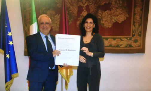 Il Presidente di Labozeta Spa premiato dell'onoreficienza di Commendatore del Lavoro