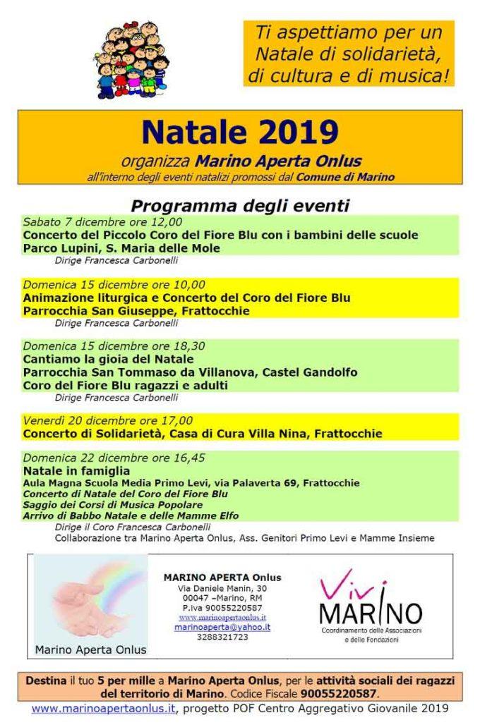 Il programma degli eventi proposto da Marino Aperta Onlus per il Natale 2019