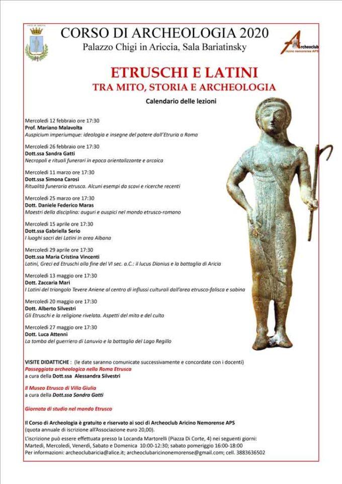 Aperte le iscrizioni all'Archeoclub Aricino Nemorense e al nuovo corso di archeologia 2020