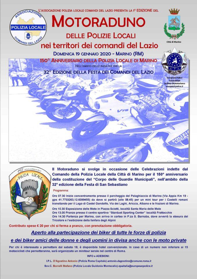 Polizie Locali del Lazio in festa a Marino per San Sebastiano il 19 e 20 gennaio 2020