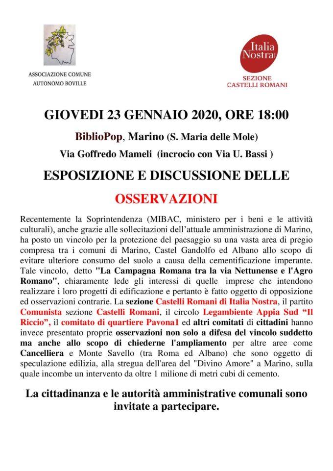 Presentazione- dibattito sulle OSSERVAZIONI al vincolo del MIBAC  su Marino Castel Gandolfo ed Albano