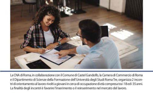 Castel Gandolfo – Orientamento al lavoro:  due incontri  dedicati ai giovani