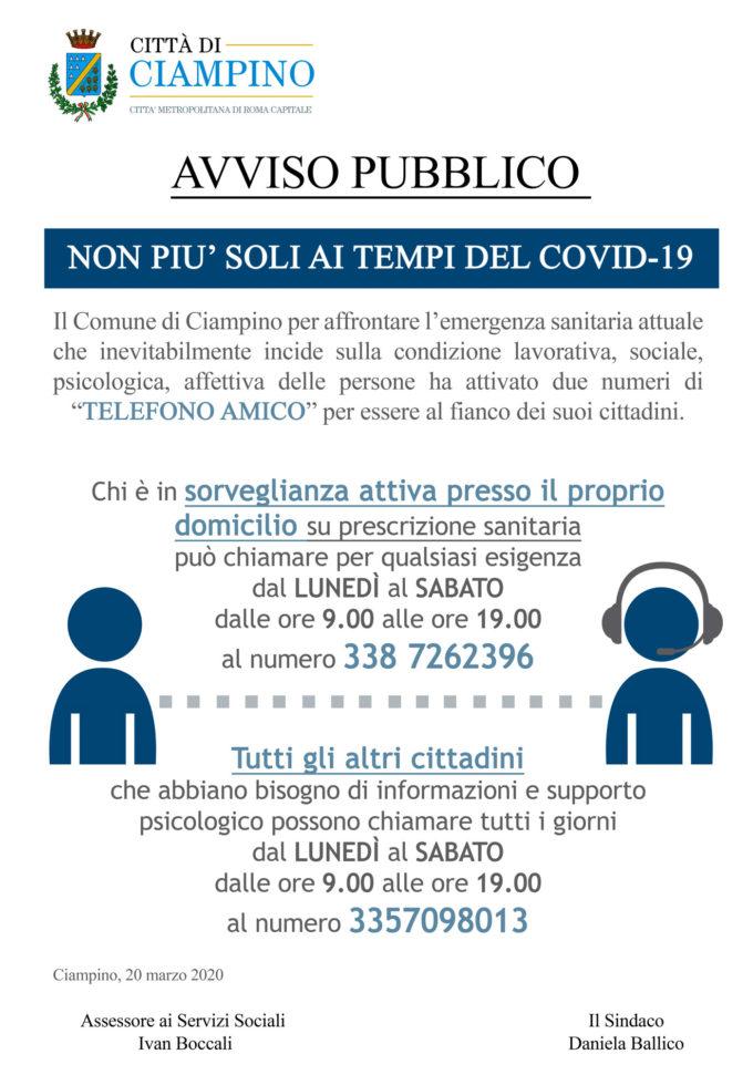 Ciampino – Nuovo servizio di ascolto e sostegno alla cittadinanza