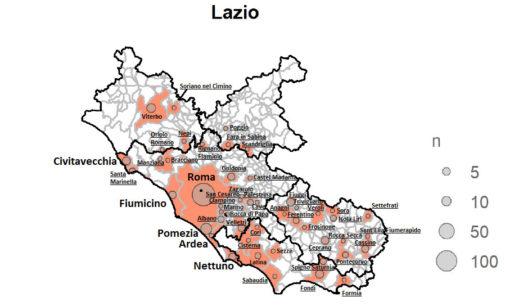 LA MAPPA AGGIORNATA PER COMUNE DELLA DIFFUSIONE DEL CORONAVIRUS NELLA REGIONE LAZIO