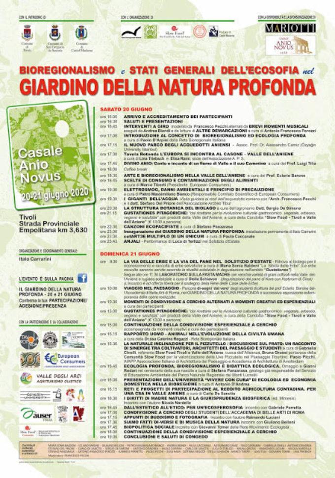 """""""Bioregionalismo. Stati generali dell'ecosofia"""" – Un canto bioregionale da cantare a Tivoli, il 20 e 21 giugno 2020…"""