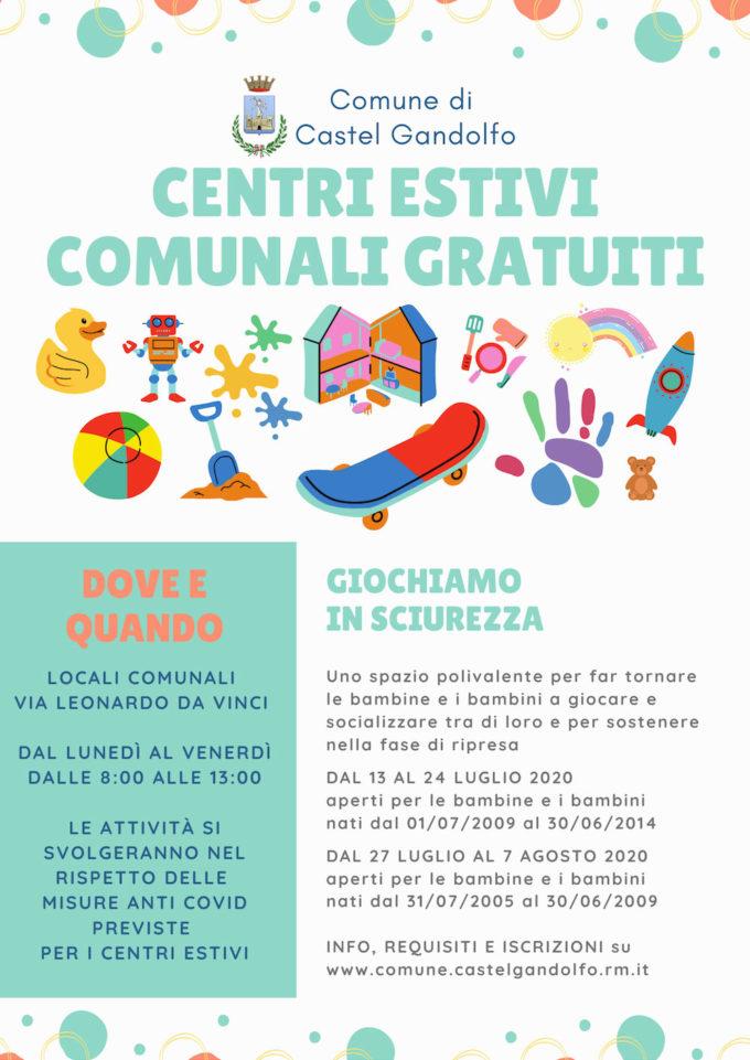 Dal 13 luglio parte il centro estivo comunale gratuito