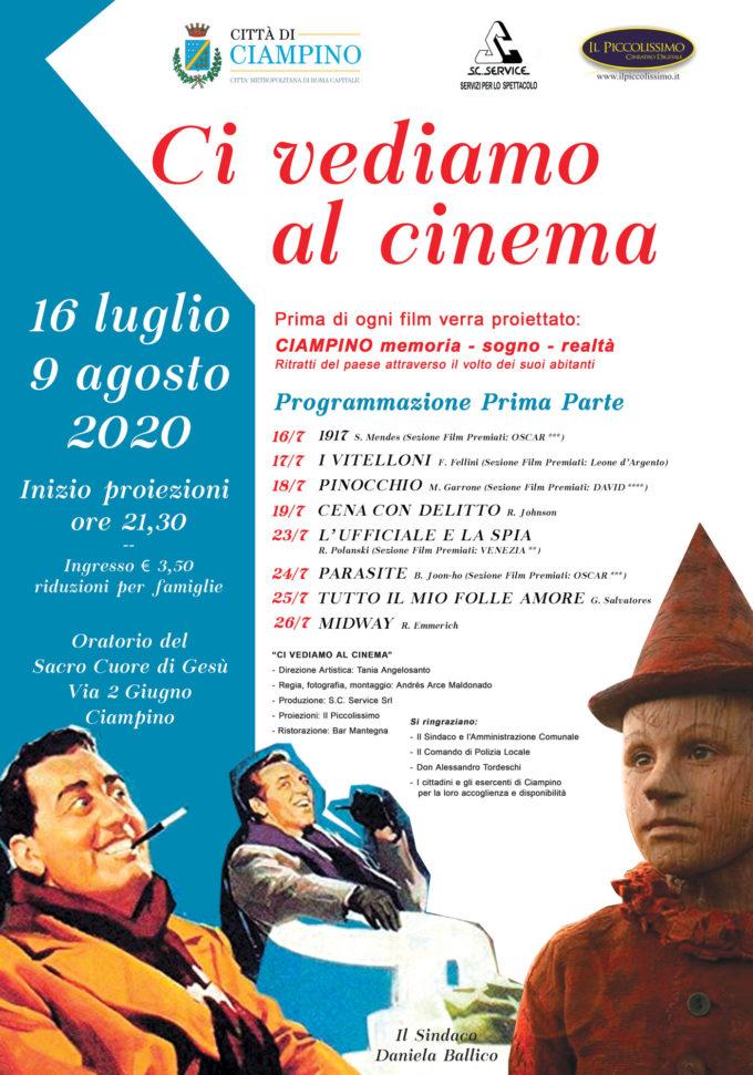 """TORNA IL CINEMA A CIAMPINO CON LA RASSEGNA ESTIVA: """"CI VEDIAMO AL CINEMA"""""""