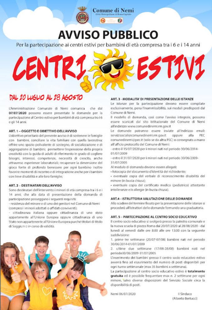 Nemi al via i centri estivi per bambini di età compresa tra i 6 e i 14 anni