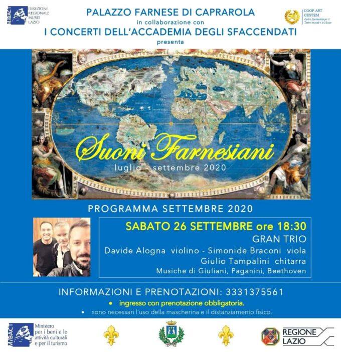 """Il """"Grand Trio"""" di Alogna, Braconi e Tampalin conclude nel segno di Beethoven il ciclo di concerti """"Suoni Farnesiani"""""""
