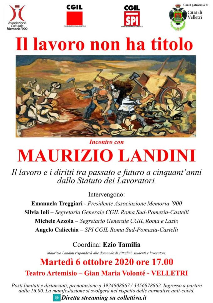 Maurizio Landini a Velletri: martedì 6 ottobre al Teatro Artemisio-Volonté