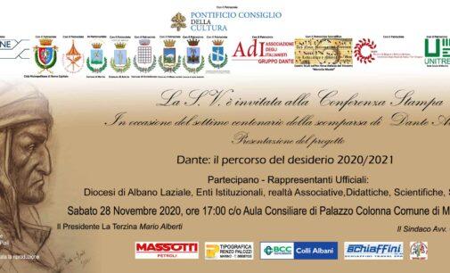"""Marino – Si presenta il Progetto """"Dante: il percorso del desiderio 2020/2021"""""""