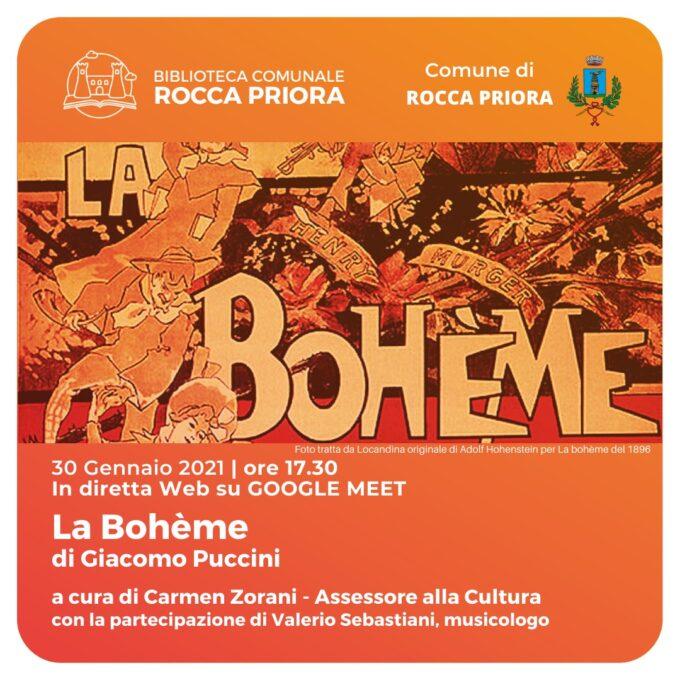 A Rocca Priora riprende la rassegna culturale online con il III Atto della Bohème