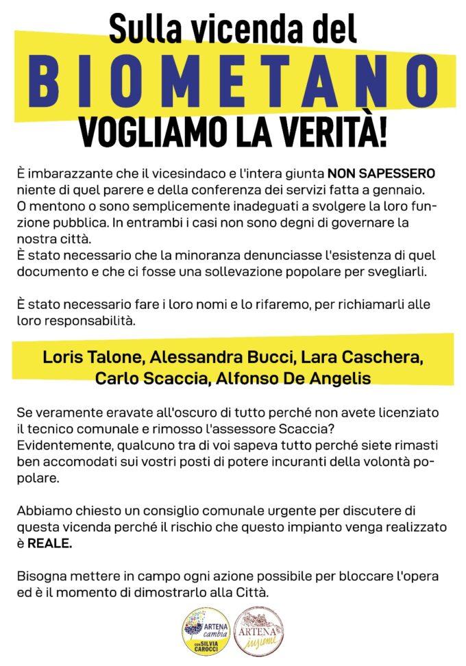 """ARTENA – Silvia Carocci torna a parlare della centrale Biometano e dell'operazione """"Feudo"""""""