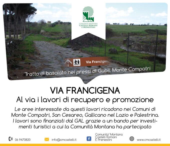 Via Francigena: messa in sicurezza, sviluppo e promozione da parte della Comunità Montana Castelli Romani e Prenestini