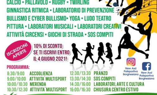"""La Polisportiva Borghesiana lancia il suo centro estivo """"multidisciplinare"""": il via dal 9 giugno"""