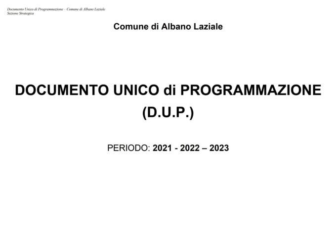 QUANDO MANCA LA PROGRAMMAZIONE.  IL CASO DEL DUP DI ALBANO