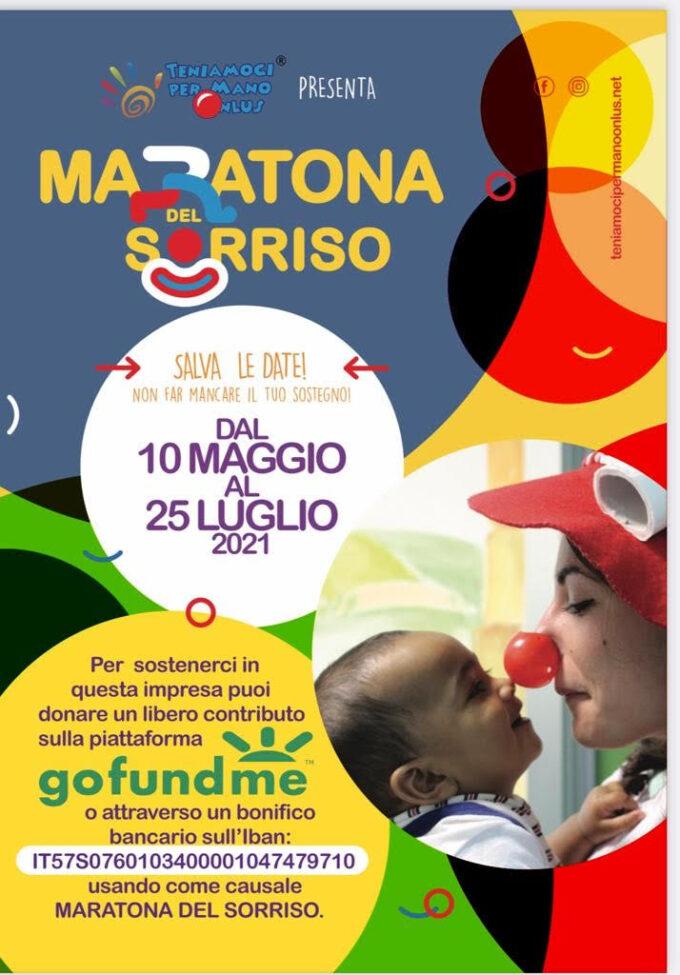 """Parte il 10 maggio la """"Maratona del Sorriso 2021"""" Campagna nazionale di solidarietà dell'associazione di clownterapia """"Teniamoci per Mano ONLUS"""""""