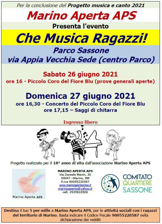 Marino Aperta APS: concerto e musica nel fine settimana a Parco Sassone