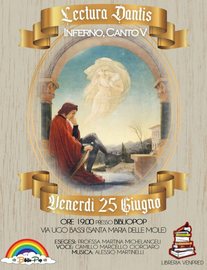 Marino. BiblioPop ospita la Lectura Dantis del V canto dell'Inferno