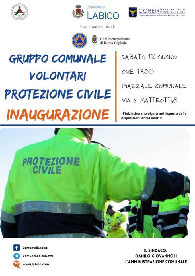 Labico, sabato inaugurazione del Gruppo Comunale Volontari di Protezione Civile