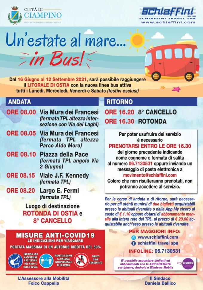 """Ciampino – Torna il bus per il mare, al via la popolare iniziativa """"un'estate al mare… in bus"""""""