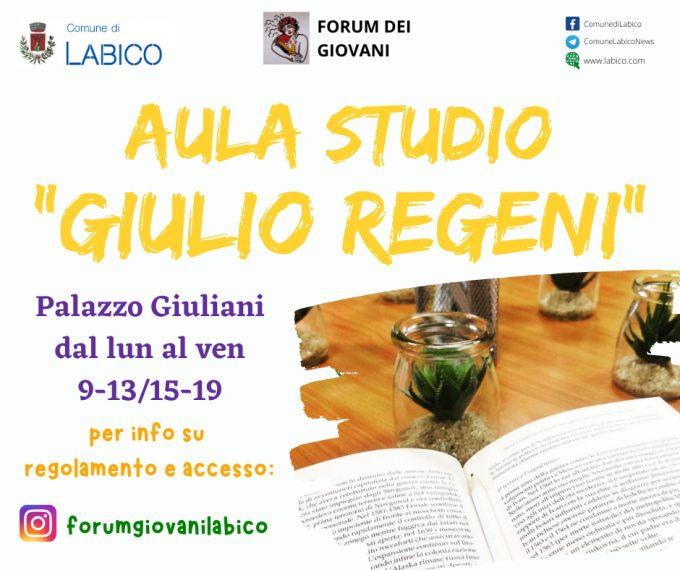 LABICO, nel Comune più giovane del Lazio un'aula studio per Giulio Regeni