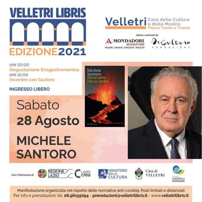 """Michele Santoro a """"Velletri Libris"""": sabato 28 (ore 21) """"Nient'altro che la verità"""""""