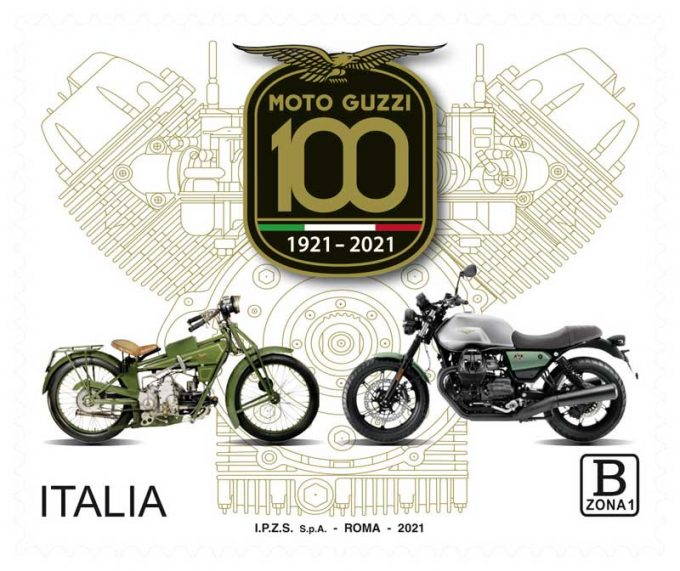 Emesso un francobollo per il centenario della Moto Guzzi